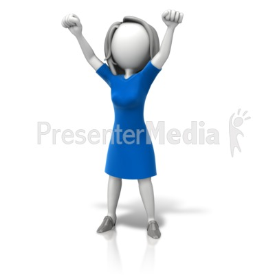 Woman Celebration Arms Up PowerPoint Clip Art