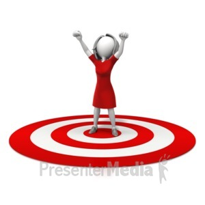 ID# 11341 - Woman Celebration On Target - Presentation Clipart