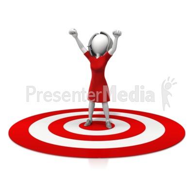 Woman Celebration On Target PowerPoint Clip Art