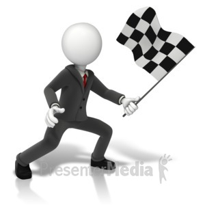 ID# 11348 - Business Figure Holding Checkered Flag - Presentation Clipart