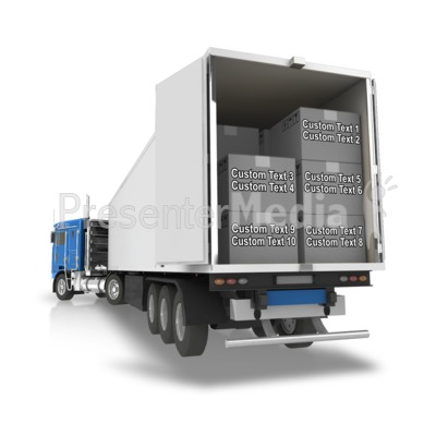 Semi Trailer Backup Boxes Text PowerPoint Clip Art
