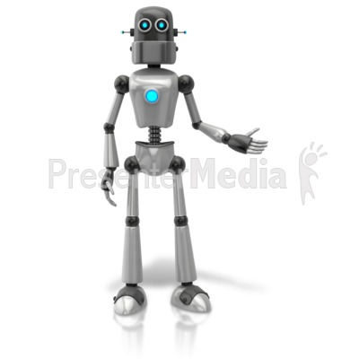 Retro Robot Presenting To Side PowerPoint Clip Art