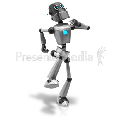Retro Robot Happy Walk PowerPoint Clip Art