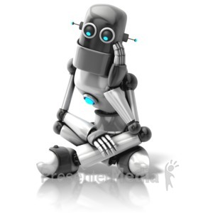 ID# 11439 - Retro Robot Thinking - Presentation Clipart
