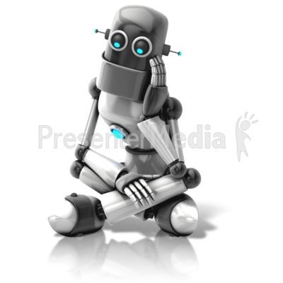 Retro Robot Thinking PowerPoint Clip Art