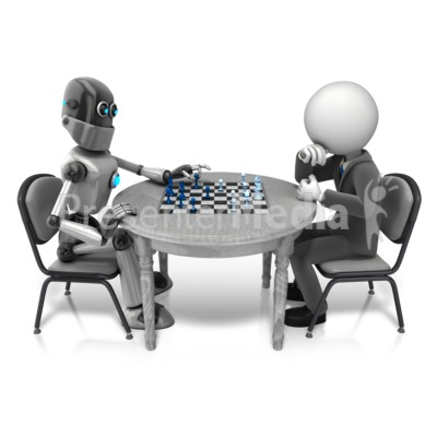 Retro Robot Playing Chess PowerPoint Clip Art