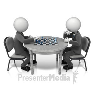 ID# 11449 - Competitor Playing Chess - Presentation Clipart
