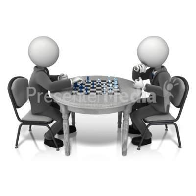 Competitor Playing Chess PowerPoint Clip Art