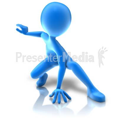 Hero Crouching Pose PowerPoint Clip Art
