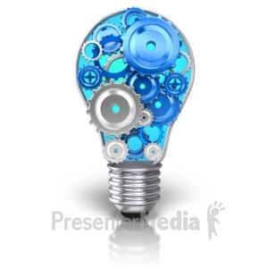 ID# 11462 - Light Bulb Idea Gears - Presentation Clipart