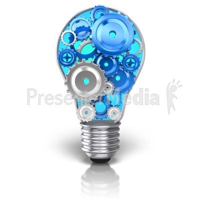 Light Bulb Idea Gears PowerPoint Clip Art