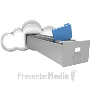 ID# 11464 - Cloud with File Cabinet Drawer - Presentation Clipart