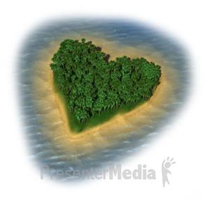 ID# 11514 - Heart Island - Presentation Clipart