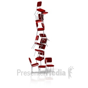 ID# 11525 - Chairs Balancing Stacked - Presentation Clipart