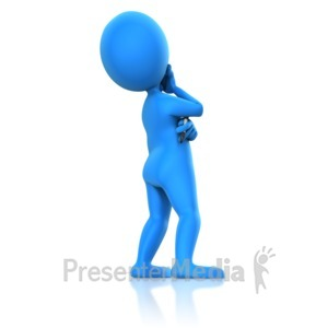 ID# 11529 - Stick Figure Holding Marker Pondering - Presentation Clipart