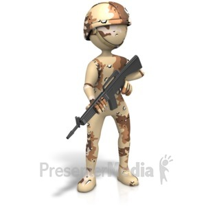 ID# 11558 - Military Figure Desert Camo Gun - Presentation Clipart
