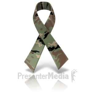 ID# 11564 - Army Camo Awareness Ribbon - Presentation Clipart