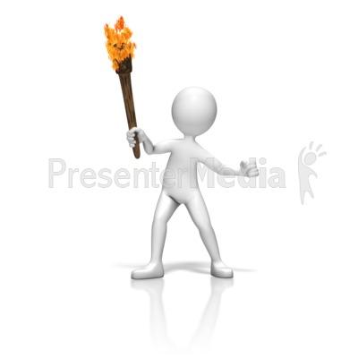 Stick Figure Torch PowerPoint Clip Art