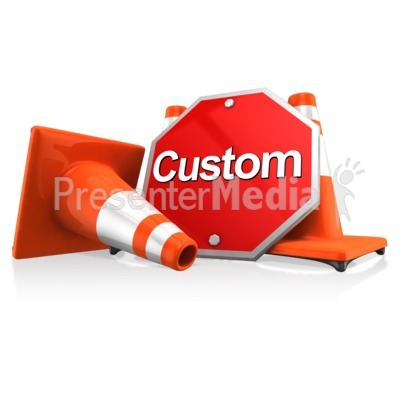 Custom Sign With Traffic Cones PowerPoint Clip Art