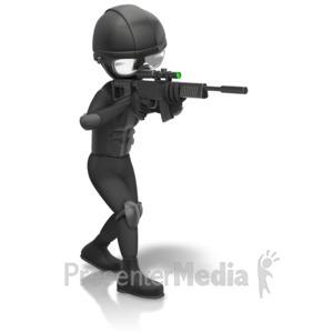 ID# 11634 - SWAT Figure Holding Gun - Presentation Clipart
