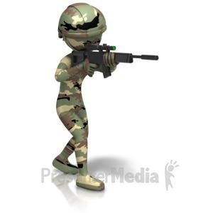 ID# 11635 - Camo Figure Holding Gun - Presentation Clipart