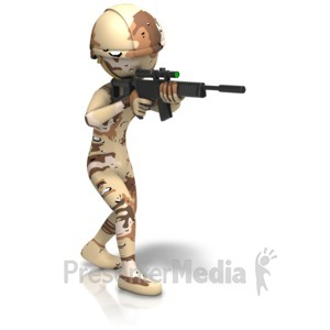 ID# 11637 - Desert Camo Figure Holding Gun - Presentation Clipart