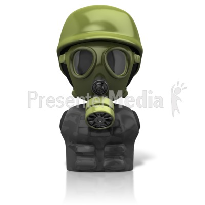 Gas Mask Figure Icon PowerPoint Clip Art