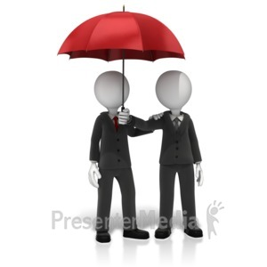 ID# 11673 - Business Figures Umbrella - Presentation Clipart