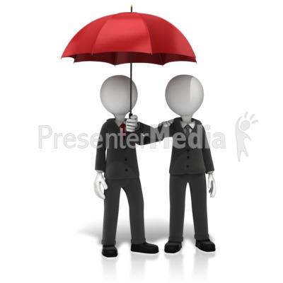 Business Figures Umbrella PowerPoint Clip Art