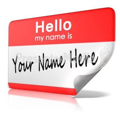 Hello My Name Is Tag Text PowerPoint Clip Art
