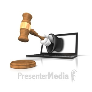 ID# 11691 - Online Justice Gavel - Presentation Clipart