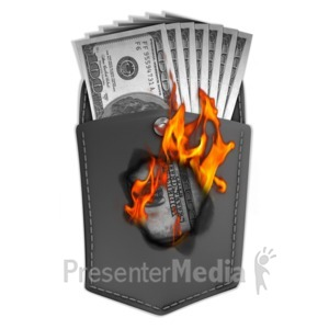 ID# 11834 - Money Burning Hole In Pocket - Presentation Clipart