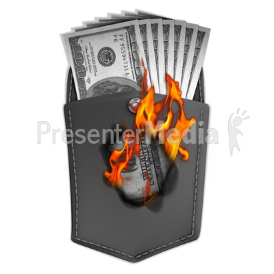 Money Burning Hole In Pocket PowerPoint Clip Art