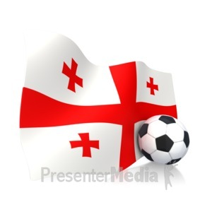 ID# 11859 - Georgian Flag With Soccer Ball - Presentation Clipart