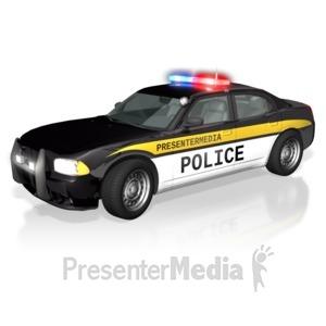 ID# 11888 - Police Car Text - Presentation Clipart
