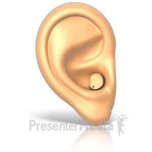 ID# 11889 - Hearing Aid in Ear - Presentation Clipart