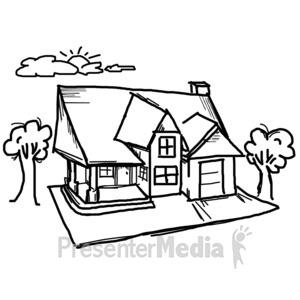 ID# 11948 - House Sky Sketch - Presentation Clipart