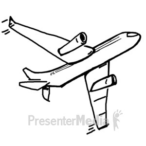 ID# 11961 - Single Airplane Sketch - Presentation Clipart