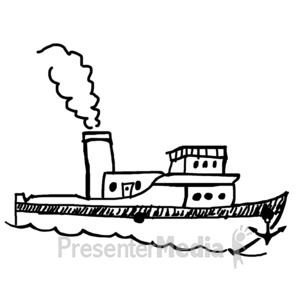 ID# 11962 - Single Boat Sketch - Presentation Clipart