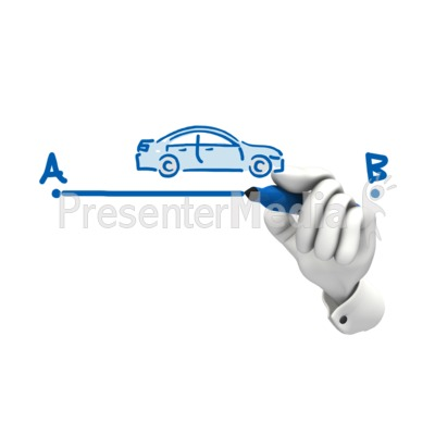 Hand Drawing Car A To B PowerPoint Clip Art