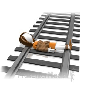 ID# 11978 - Woman Tied On Tracks - Presentation Clipart