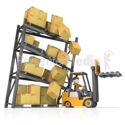 Careless Forklift Crash PowerPoint Clip Art