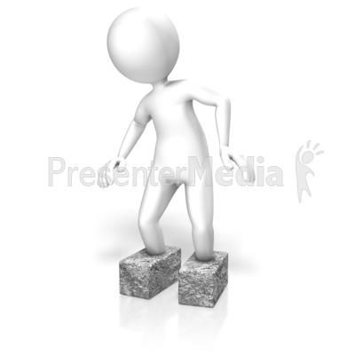 Stick Figure Cement Shoes PowerPoint Clip Art
