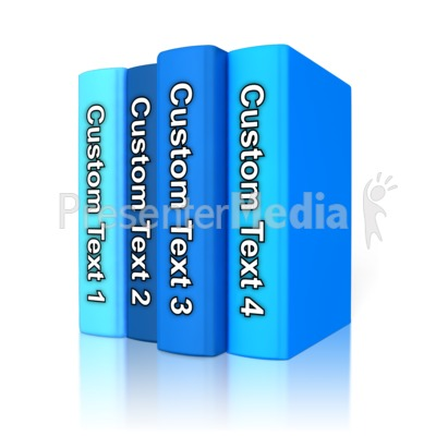 Custom Text Book Standing Up PowerPoint Clip Art