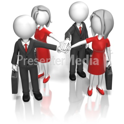Business Team Huddle PowerPoint Clip Art