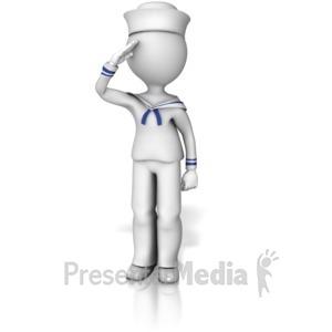 ID# 12046 - Sailor Saluting - Presentation Clipart
