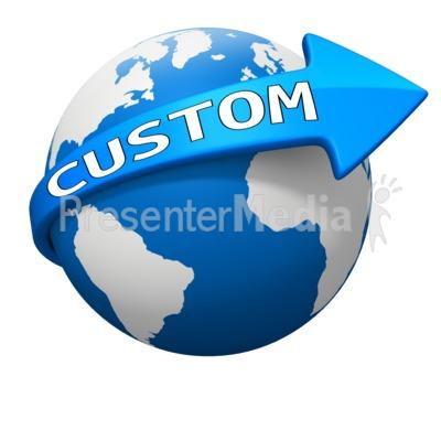 Custom World Arrow Curve PowerPoint Clip Art