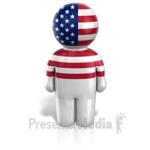 ID# 12100 - Usa Peg Figure Icon - Presentation Clipart