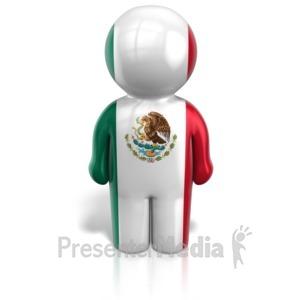 ID# 12104 - Mexico Peg Figure Flag Icon - Presentation Clipart