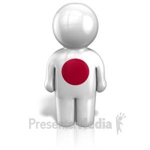 ID# 12106 - Japan Peg Figure Flag Icon - Presentation Clipart